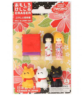 Iwako Puzzle Eraser - Doll & Lucky Cat - (Mini-gommes kawaii) Made in Japan